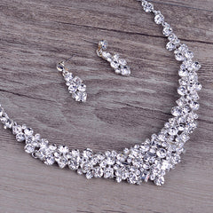 Necklace Earrings Set Wide Bridal Crystal - FabFunBride