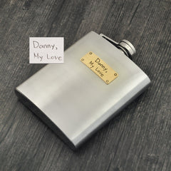 Handwriting Personalized Flask Stainless Steel Flask for Wedding Best Men Father Gift - FabFunBride