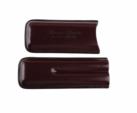 Personalized Engraved Portable Leather Cigar Case - Groomsmen gift - FabFunBride