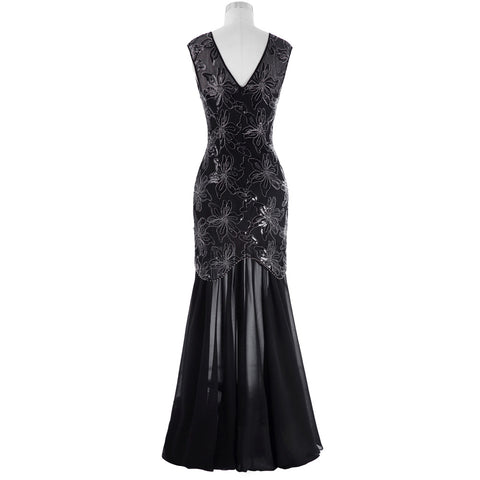 Cap Sleeve Sequins Mother of the Bride Dress Long Gown Black - FabFunBride
