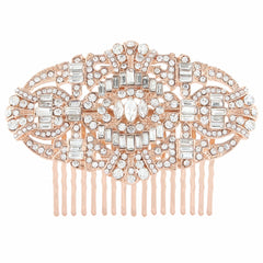 Rose Gold Crystal Luxury Hair Comb - FabFunBride