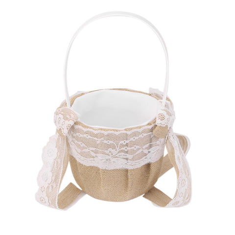 Burlap Wedding Flower Girl Basket with Lace Bowknots Rustic Wedding - FabFunBride