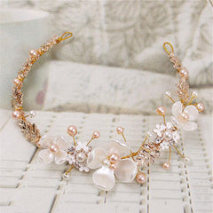 pearl gold Floral Hairbands Vine - FabFunBride