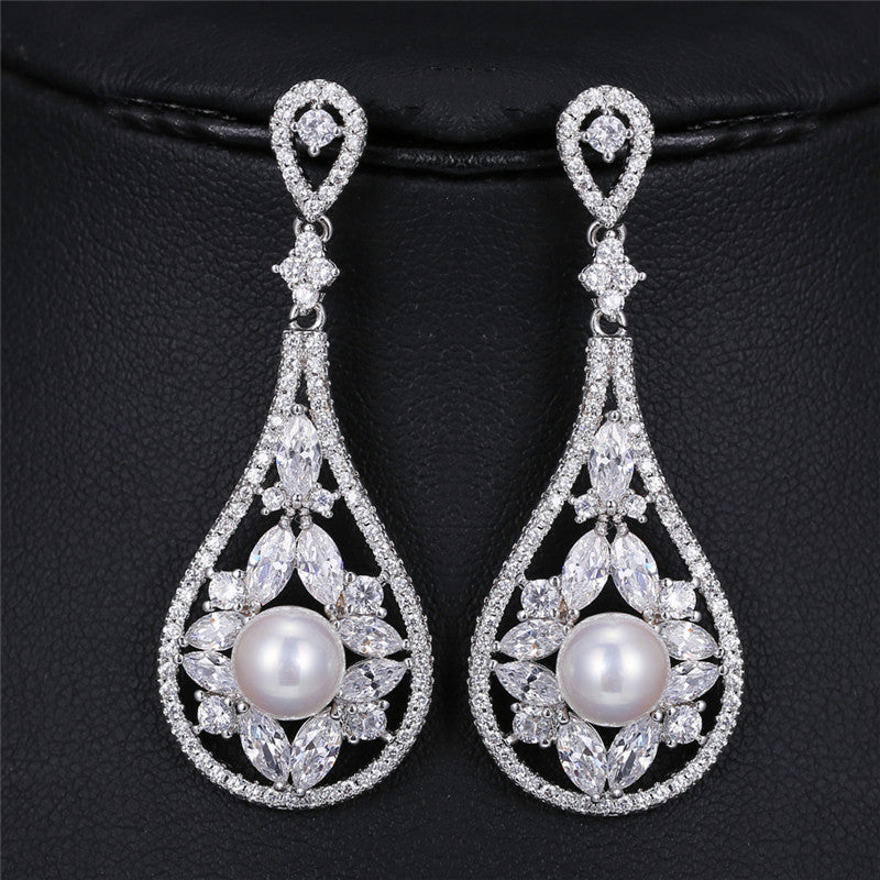 Shell Pearl Crystal CZ Flowers Earrings Luxury Big Star Zircon Earrings - FabFunBride