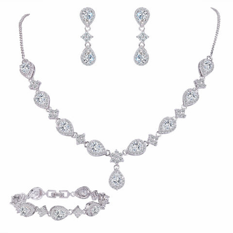 Necklace Set Cubic Zirconia High Quality - FabFunBride