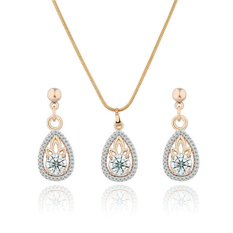 Water Drop Pendant Necklace Earring Set Gold-Color Cubic Zircon - FabFunBride