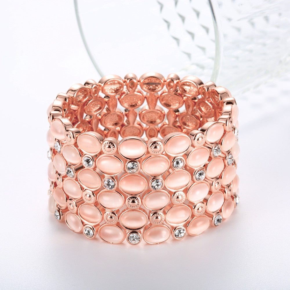 Pink opal with crystal large bracelet - FabFunBride
