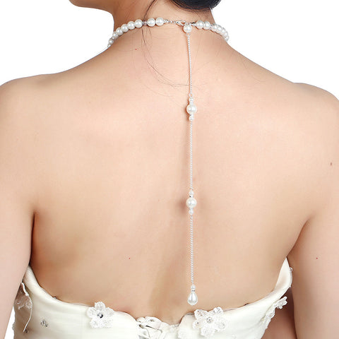 Custom Back Chain Pearl Necklace with Swarovski Crystal Elements - FabFunBride