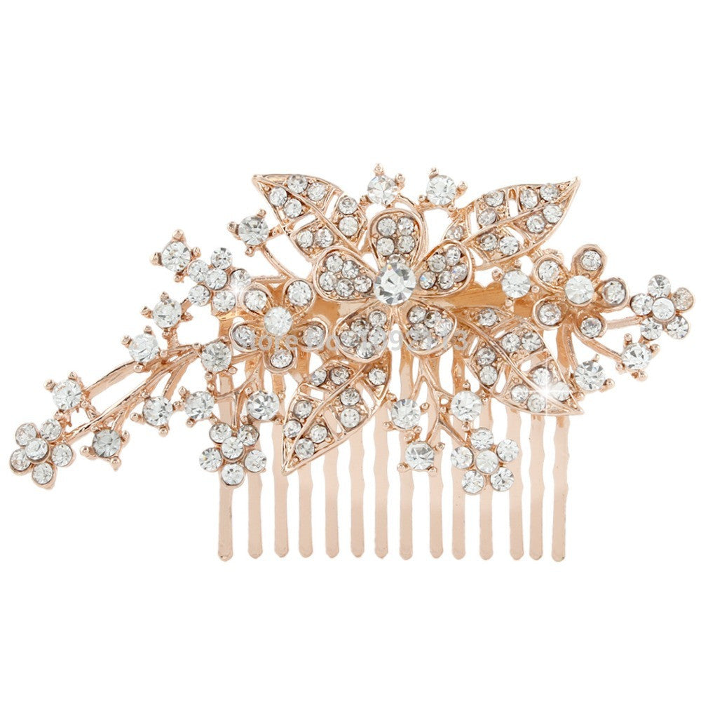 Rose Gold Tone Bridal Hair Comb Austrian Crystal - FabFunBride