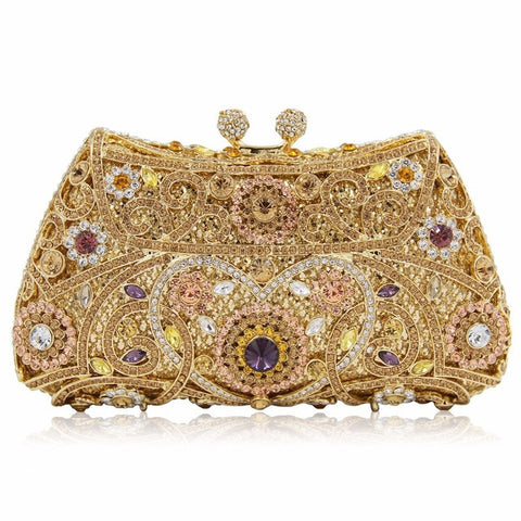 NATASSIE Women Evening Bags Ladies Wedding Party Clutch Bag Crystal Gold Diamonds Purses - FabFunBride