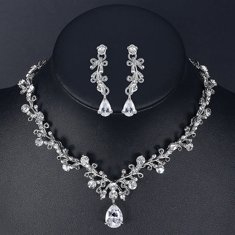 Luxury Cubic Zirconia Bridal Jewelry Sets Leaf-Shape Crystal - FabFunBride