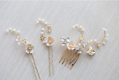 Gold Flower Hair Pins Bridal Comb Set Crystal - FabFunBride