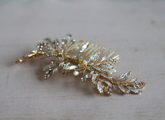 Handmade Gold Leaf Hair Comb Boho Hairpiece Pearls - FabFunBride