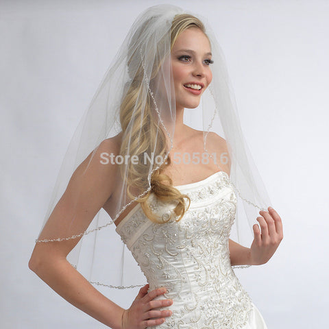 Fingertip-Length 1-Layer Pearl Crystal Beaded Bridal Veil Ivory - FabFunBride