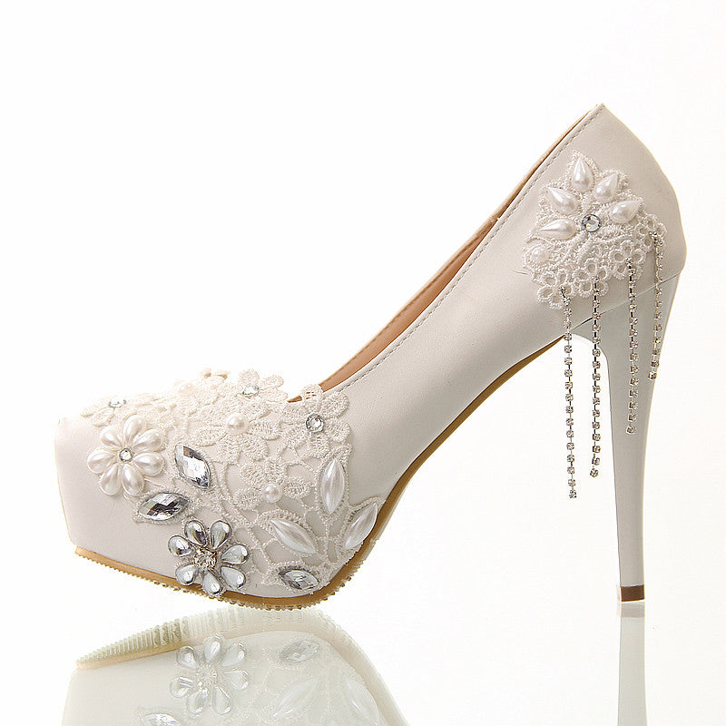 Wedding shoes white lace tassel ultra high heels bridal shoes - FabFunBride