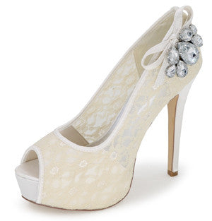 Peeptoe Crystal Lace Vintage Wedding Shoes - FabFunBride