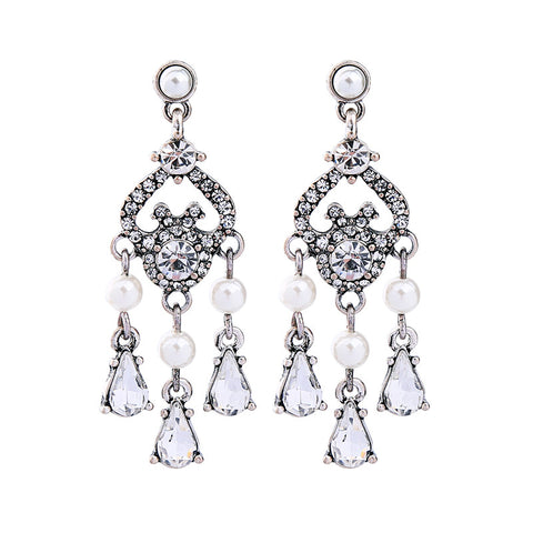 Glass Teardrop Dangling Fashion Chandelier Earrings Women Simulated Pearl Crystal Earrings Bridal Jewelry - FabFunBride