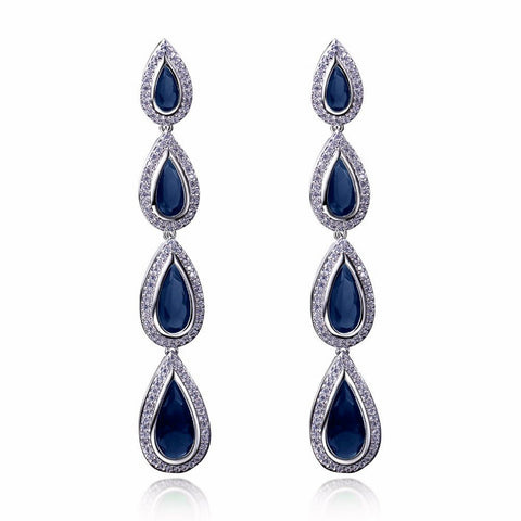 Long Drop Zirconia Earrings - FabFunBride