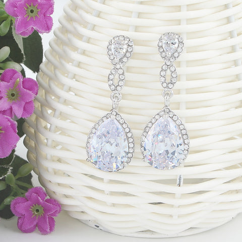 Cubic Zircon Infinity Teardrop Bridal Earrings Austrian Crystal - FabFunBride