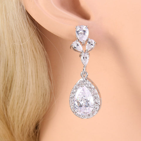 Elegant Teardrop Bridal Earrings Cubic Zircon Pierced - FabFunBride