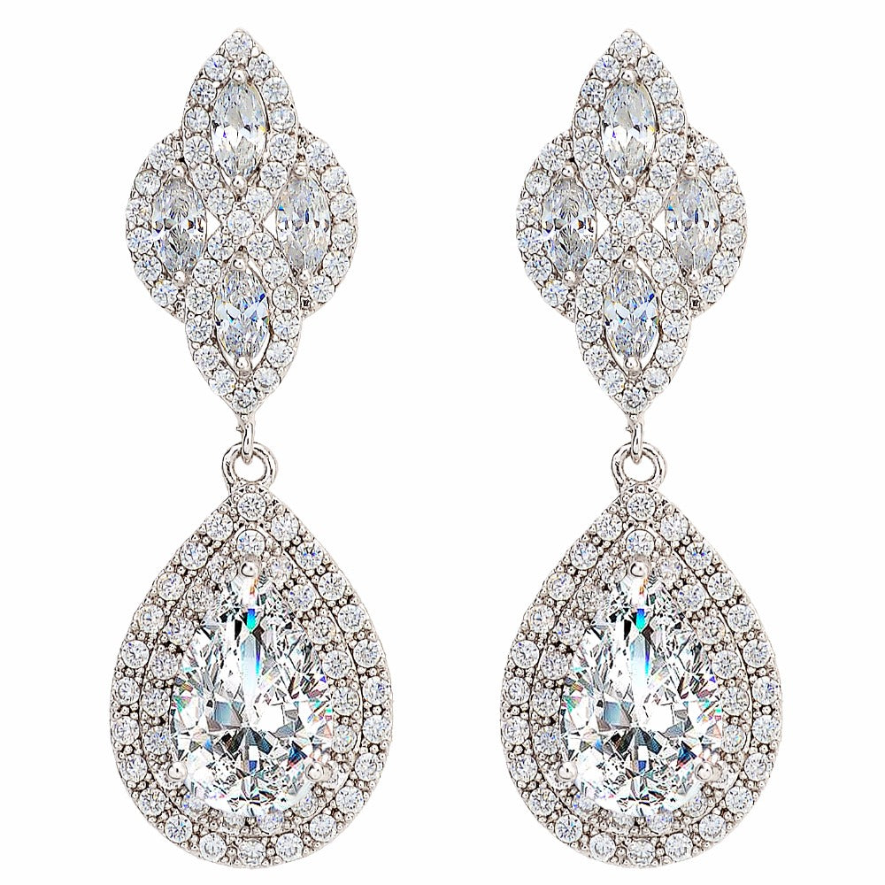 Fl Knot Teardrop Chandelier Bridal Earrings Full Cubic Zircon Dangle