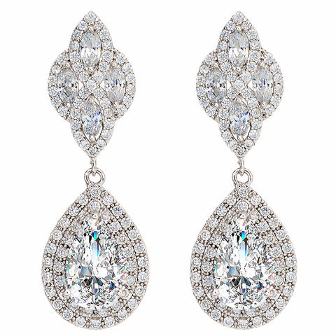 Floral Knot Teardrop Chandelier Bridal Earrings Full Cubic Zircon Dangle - FabFunBride