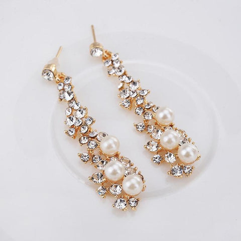 Gold, Pearl and Crystal Drop Earrings - FabFunBride
