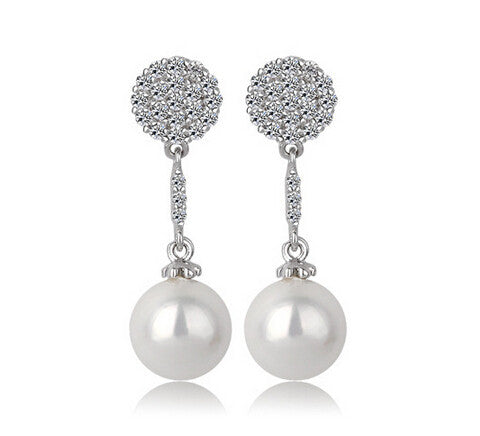 Pearl and Cubic Earrings Drop - FabFunBride