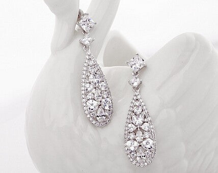 Stunnng Art Deco Teardrop Cubic Zircon Drop Earrings - FabFunBride