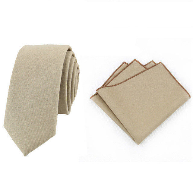 Men Classic Solid Color Cotton Neck Ties Handkerchief Pocket Square - FabFunBride