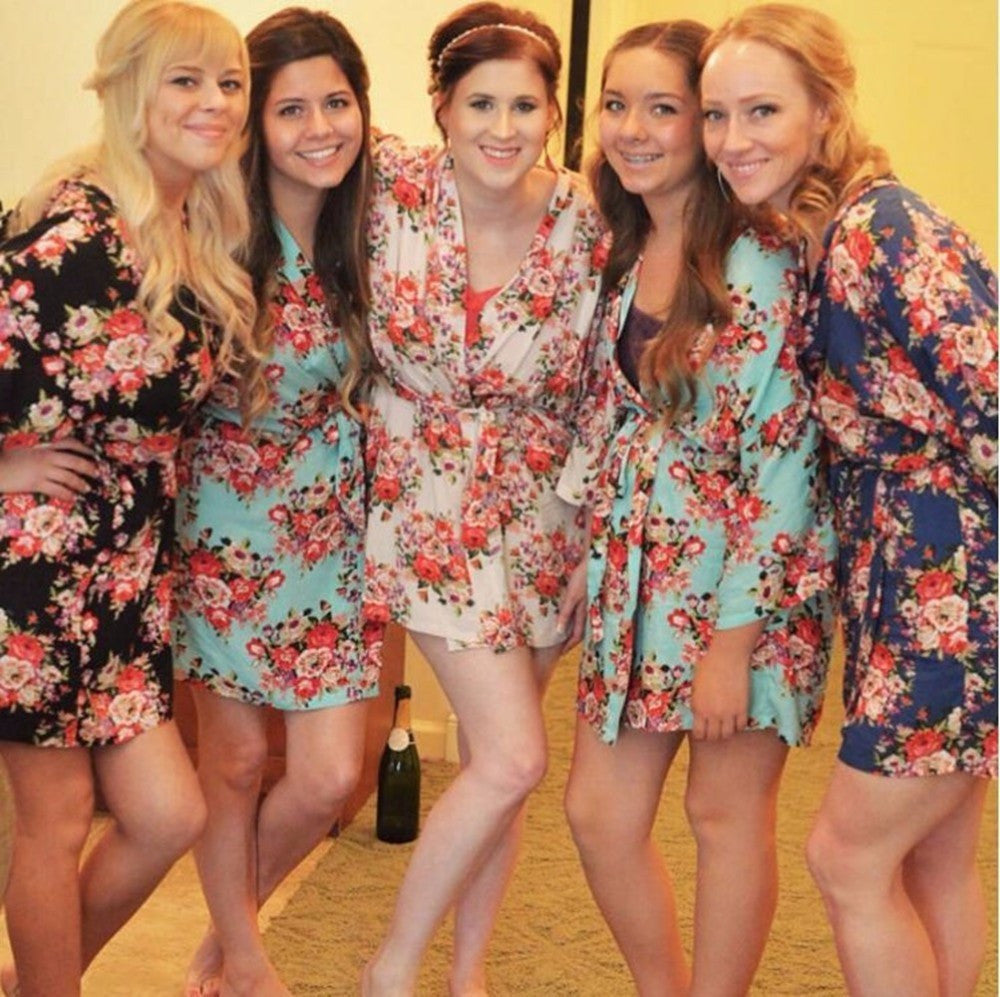 Wedding dressing Gowns Bride Mini Robe Kimono Robe Sexy Bridal party Robe Printed bridesmaid Robe bridal shower gift tunica - FabFunBride