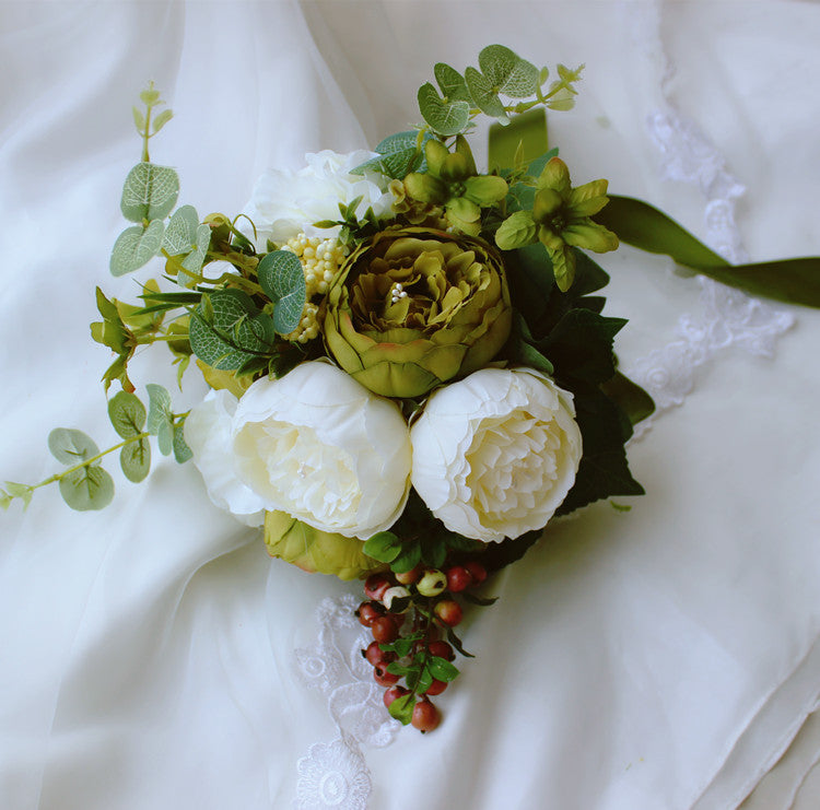 Vintage Peony Boho Wedding Bouquets Bridal Artificial Flowers Berry Br