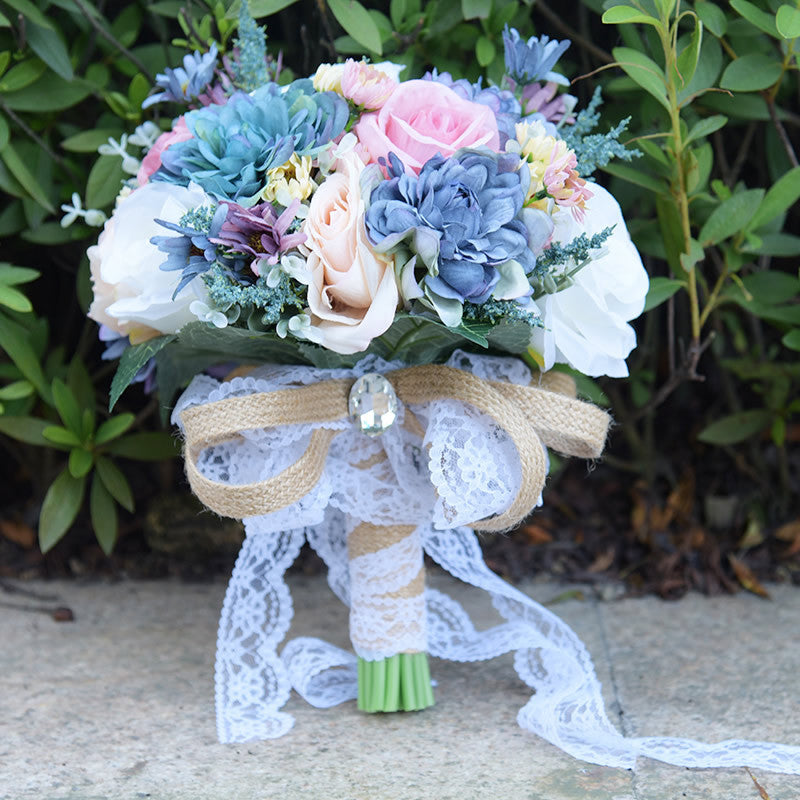 Vintage Blue Silk Flower Wild Flowers Bouquets