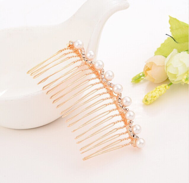 Vintage Rose Gold Hair Comb with Pearl accent - FabFunBride