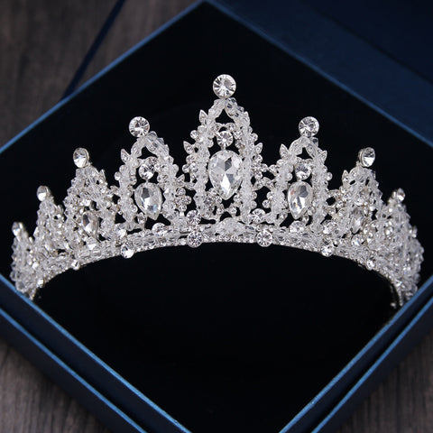 Baroque Luxury Bridal Crown Tiaras Silver Crystal - FabFunBride