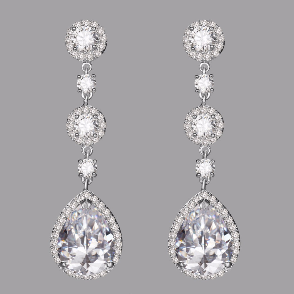 Luxury Drop Dangle Long CZ Cubic Zirconia - FabFunBride