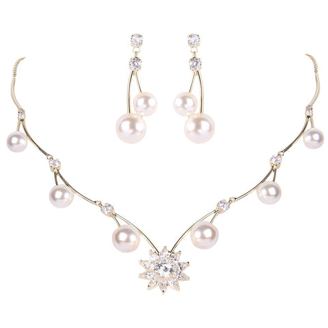 Pear Silver/Gold Tone Bridal Necklace Set Cubic Zircon Ivory - FabFunBride