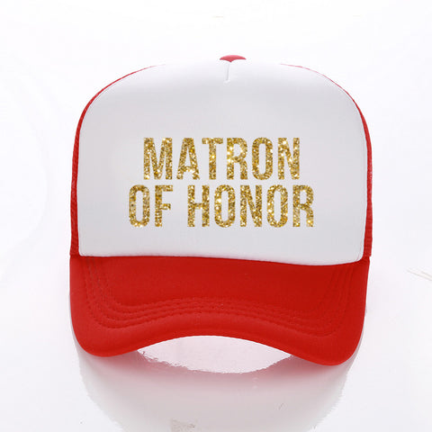 MATRON Or MAID OF HONOR Golden Glitter Print Trucker Caps Many Colours - FabFunBride