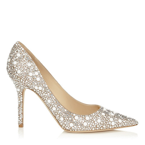 Twinkling Crystal Thin Heel Women Pumps Pointed Toe - FabFunBride