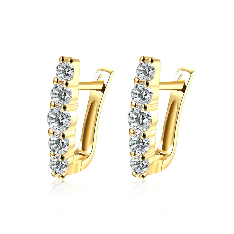 White gold plated Clip Cubic Earrings - FabFunBride