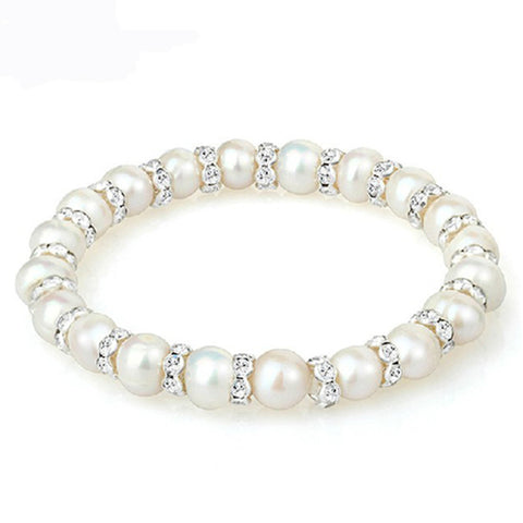 Pearl bracelet with Swarovski elements - FabFunBride