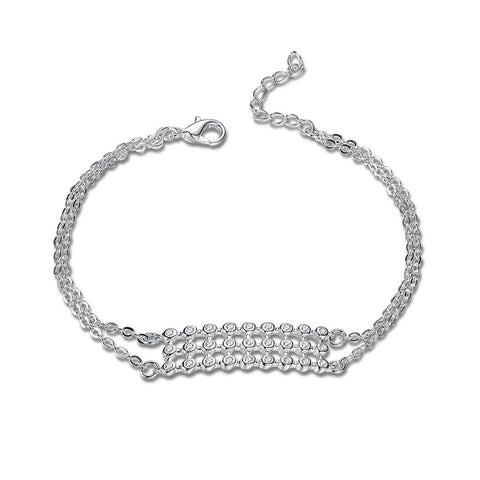 Plated silver charm bracelet with cubic zirconia - FabFunBride