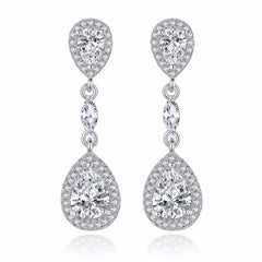 Sterling Silver .925 cubic zirconia drop earrings - FabFunBride