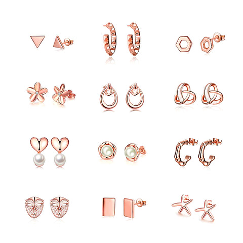 Rose Gold Stud Earrings - FabFunBride