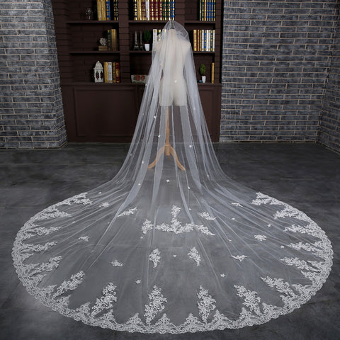 Bridal Veil Long Cathedral Train - FabFunBride