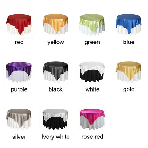 145 x 145cm Square Satin Tablecloth Table Covers For Wedding Party Restaurant Banquet Decorations - FabFunBride