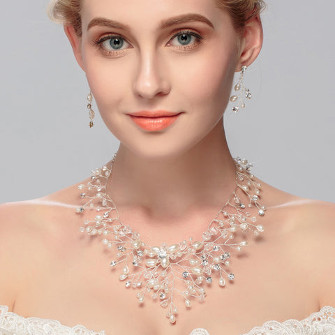 Pearl Crystal Necklace with Earrings Handmade Vintage - FabFunBride