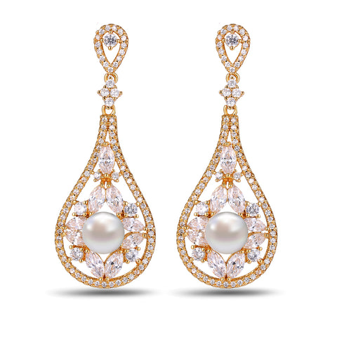 Pearl Cubic zirconia Earrings vintage bohemian - FabFunBride