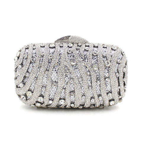 silver crystal evening bags luxury - FabFunBride