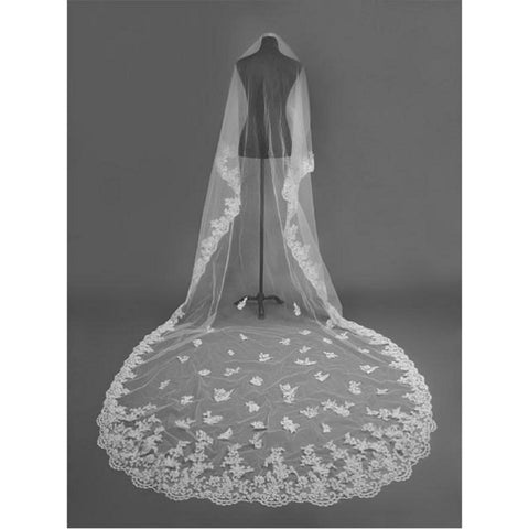 Cathedral 3 Meters Long Bridal Veil Lace One-Layer - FabFunBride